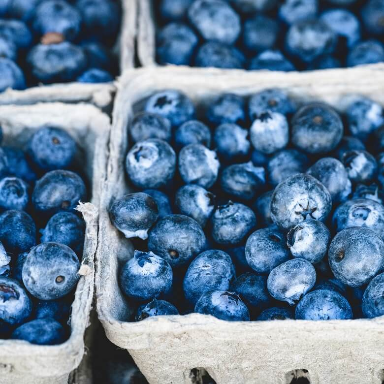 Blaubeeren in Karton als entzündungshemmende Lebensmittel