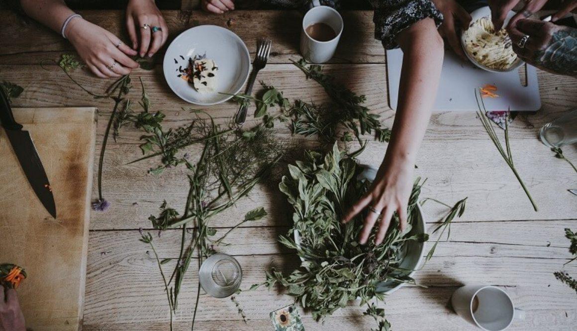 Kräutermedizin mit frischen Pflanzen